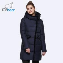 How Ice bear Women Winter Jacket Stand Collar Hooded