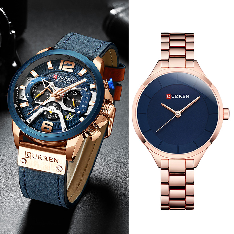 Curren Watch Unisex Men/Women Watches Luxury Top Brand Waterproof Chronograph Men Watches Stainless Steel Women Watch Quartz