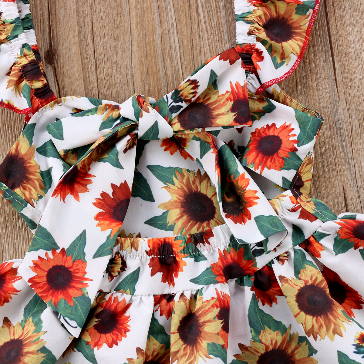 Newborn Baby Girl Floral Clothes Set Ruffles Sleeve Backless Sunflower Mini Dress Tops Baby Bloomers Shorts 2PCS Summer new in Clothing Sets from Mother Kids