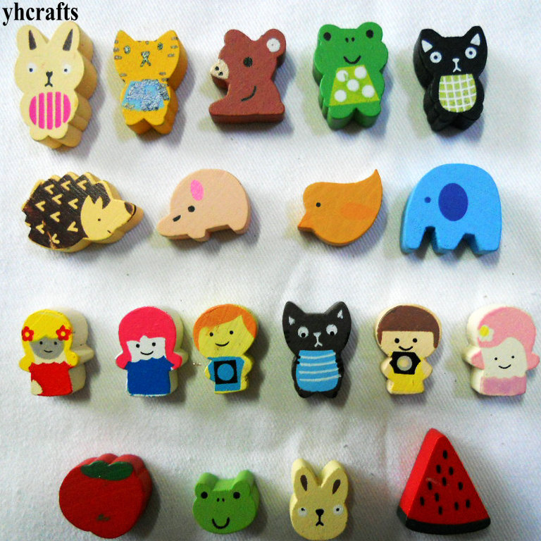 10PCS/LOT.Mixe 10 Design Fruit Animals Wood Magnet Early Learning Educational Toys Children Crafts Home Decoration Fancy Cute