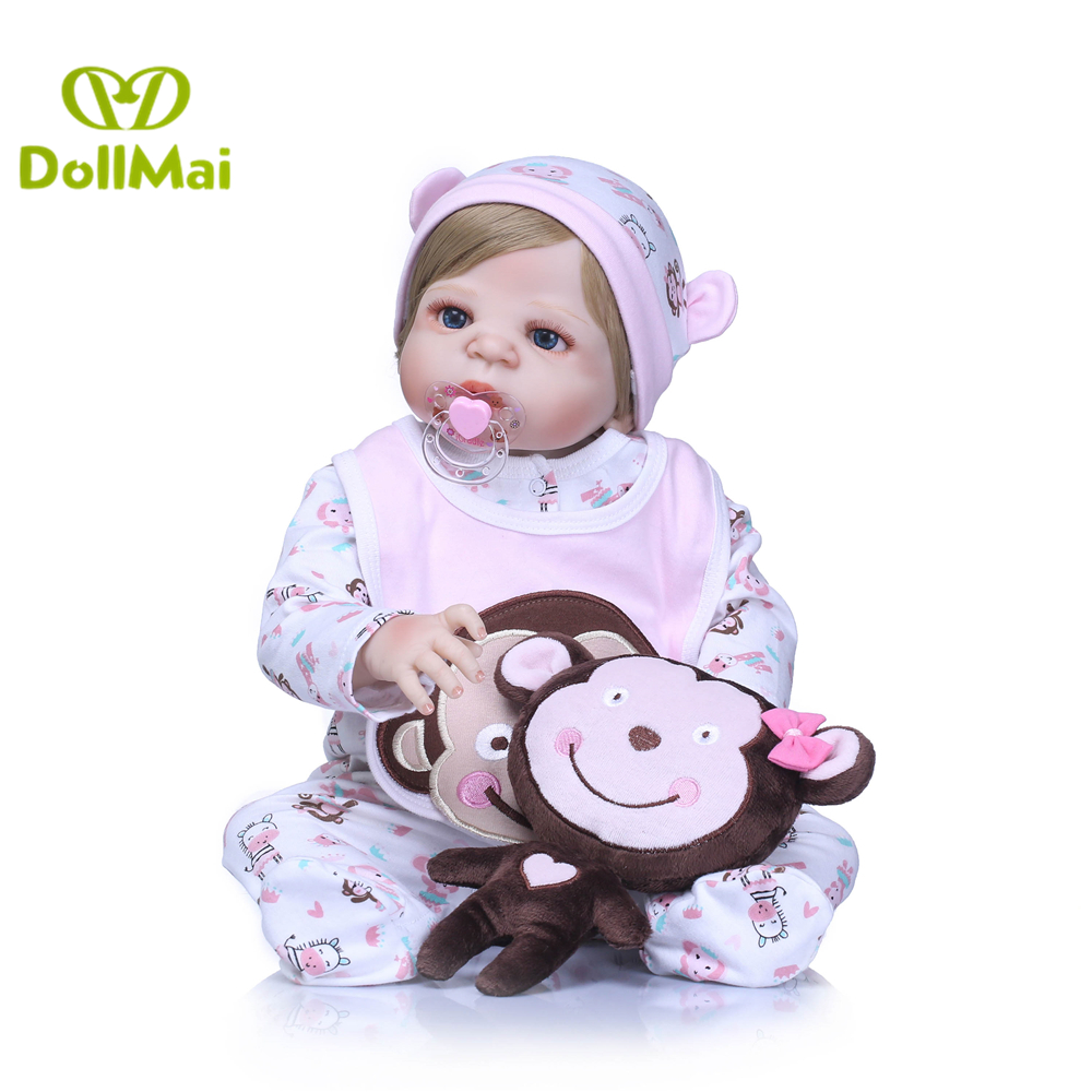 Bebes reborn Real silicone baby dolls 2357cm newborn baby girl alive dolls toys for children gift with monkey plush boneca