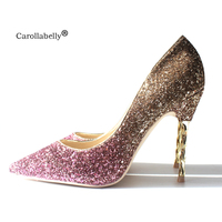 Carollabelly Brand Shoes 10CM High Heels Glitter Wedding Shoes Woman High Heels Sexy Ladies Shoes Pointed Toe High Heel