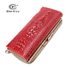 Qianxilu 2016 neuankömmling hochwertige patent leder frauenmappen für handy, reißverschluss geldbörse haspe alligator 3d kupplung taschen