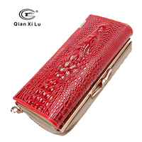 Qianxilu 2016 New Arrival High Quality Patent Leather Women Wallets for Cell phone,Hasp Zipper Purse Alligator 3D Clutch Bags