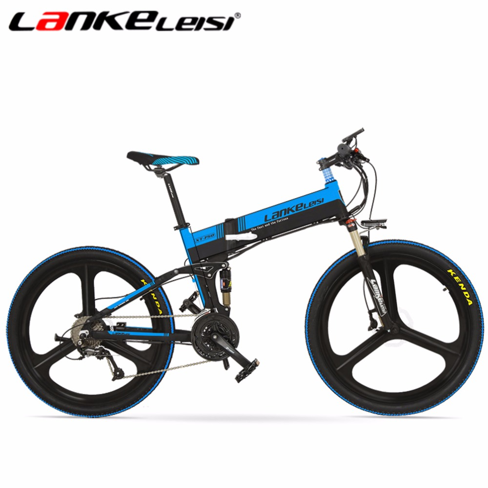 LANKELEISI 26Inch 48V/240W Lithium Electric Bike 27 Speed 5-Gears Aluminum Alloy Folding Integrated Wheel Bicycle