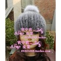 New arrival mink  women's knitted hat stripe elastic cap fox fur ball cap