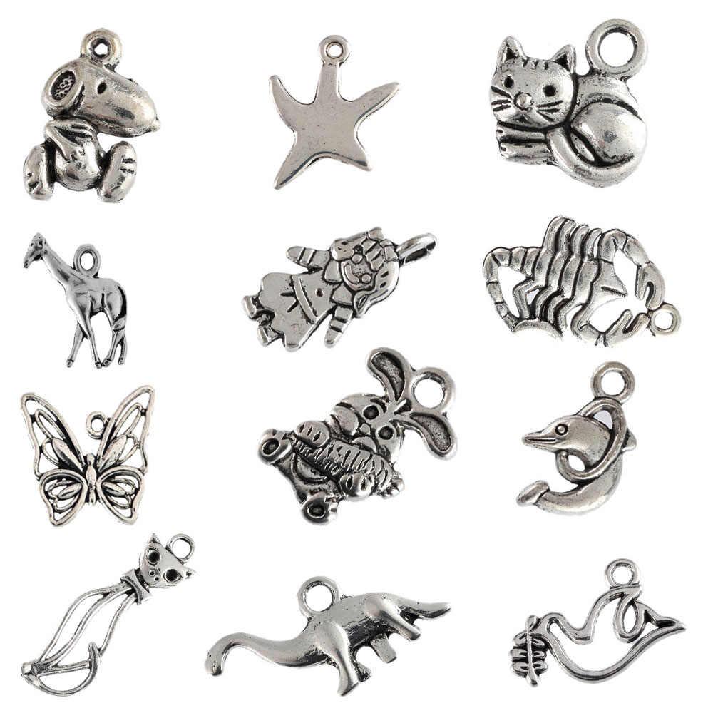 Tibetan silver beads charms Scorpion rabbit Dove Dolphin Cat pendants fit bracelets DIY jewelry making 10pcs