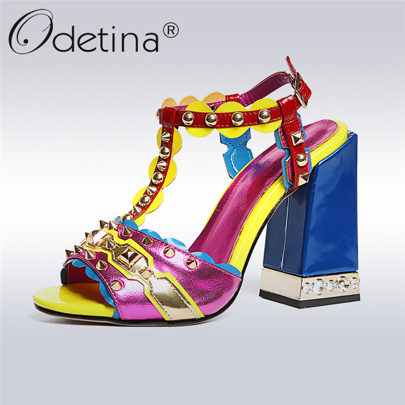 Odetina New Fashion Genuine Leather Sandals Women High Heels T-strap Peep  Toe Rivet Mixed Color Party Shoes Summer Plus Size 43 12585014686