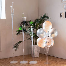 Cyuan 1/7/11 tubes Flower Shape Balloon Stand Stick Hold Confetti Balloons Bouquet Column Stand for Wedding Birthday Party Decor(China)
