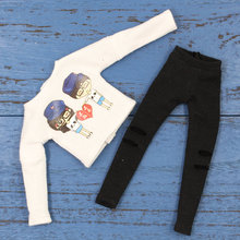 Outfits for Blyth doll White Tshirt with Rag-holes pants for 1/6 BJD ICY DBS