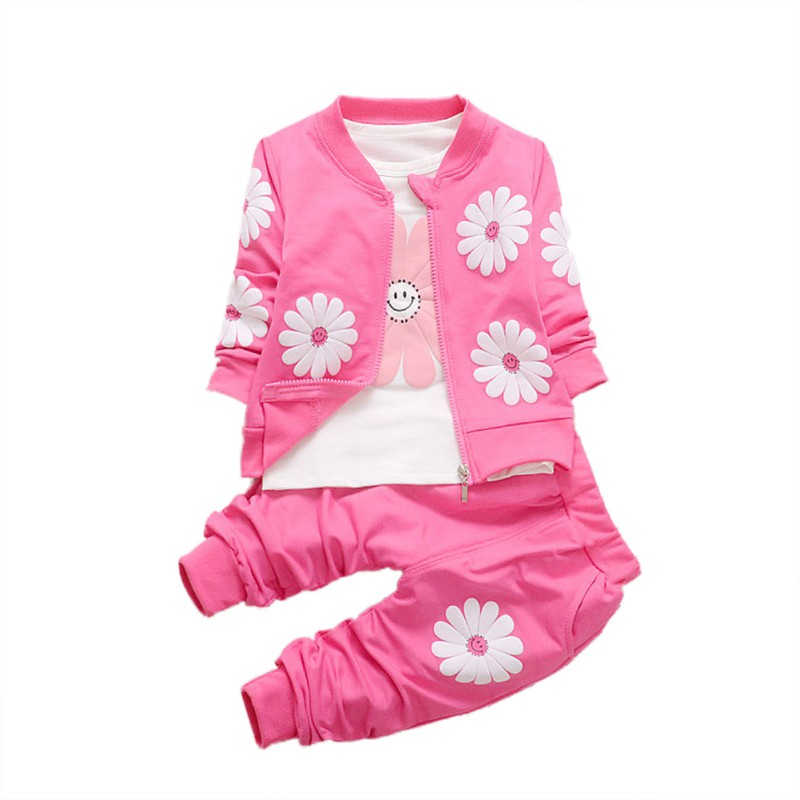 Winter Autumn kids Baby Clothing 3pcs Newborn Baby Girls Clothes Coats+ T-shirt Tops+Floral Pants Outfits Set