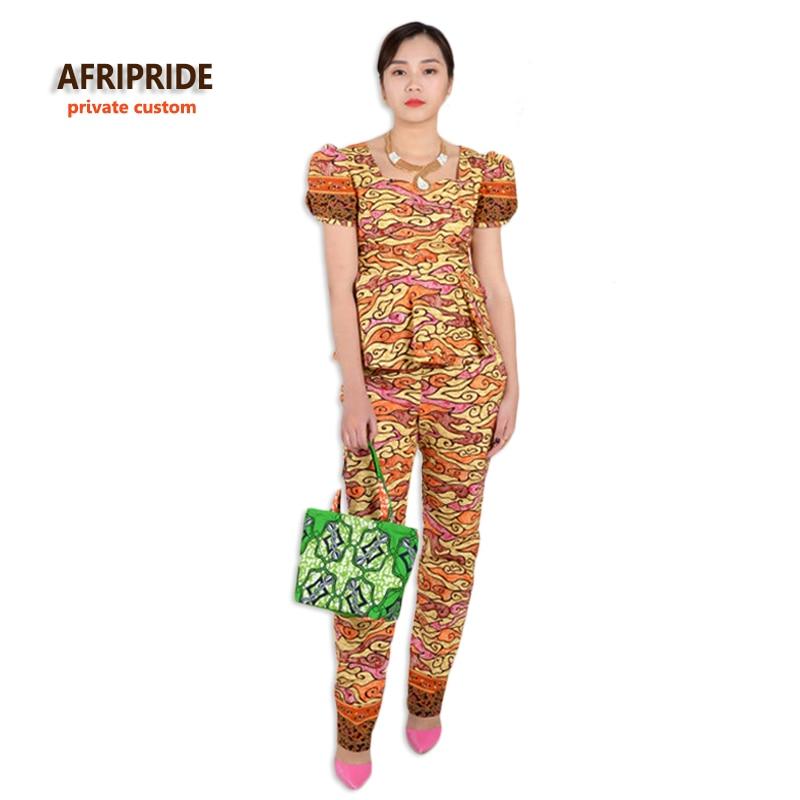 Aafrika kleidid naistele moodne kaheosaline kostüüm, mis on varustatud skaneeriva aafrika riietega, puuvillavaha pluss suurus A622611