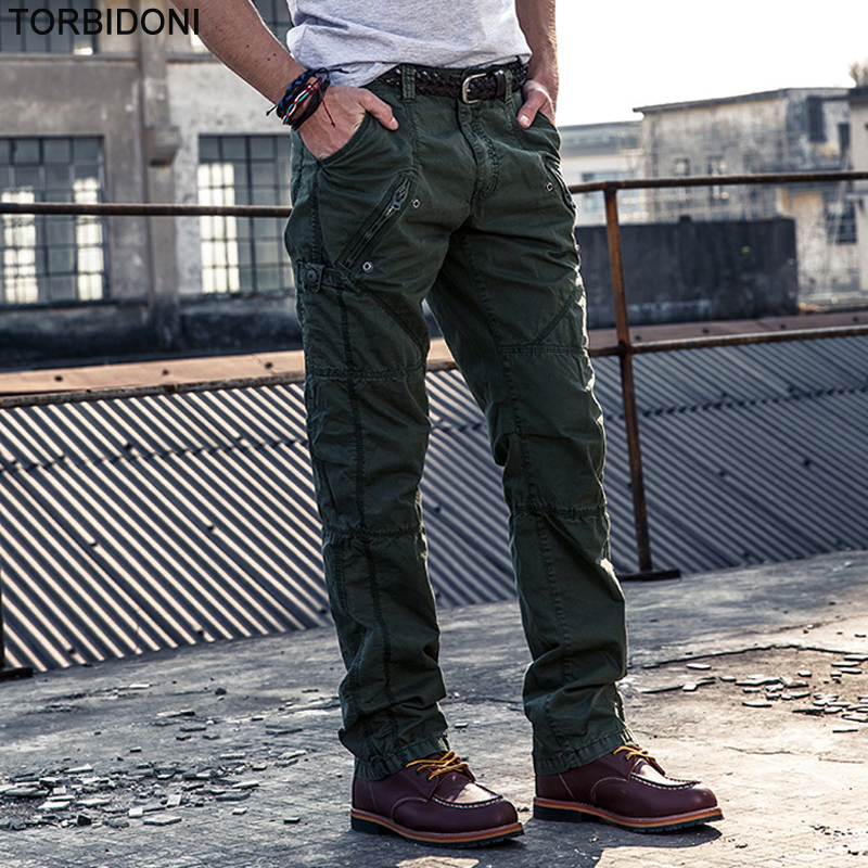 Autumn New Mens Military Cargo Pants Fashion Zipper Design Multi-pockets Male Cotton Casual Trousers Overalls Army Work Pants ...