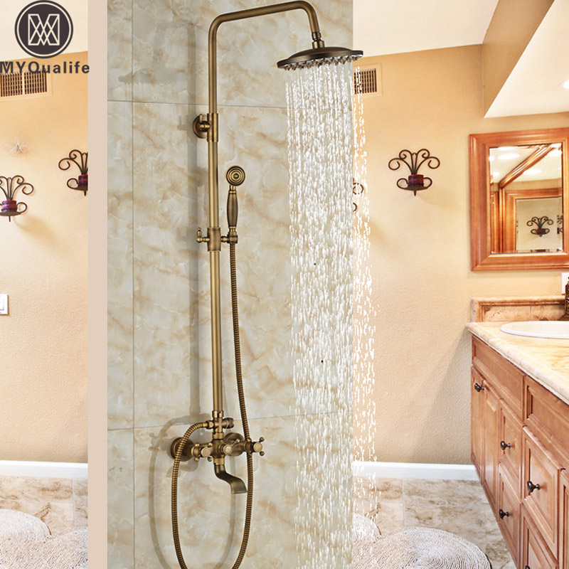 Wall Mount Rainfall Bath Shower Mixer Taps Brass Antique Bathroom Shower Set Column Dual Handle Shower Faucet 360 Rotate Spout chrome bathroom thermostatic mixer shower faucet set dual handles wall mount bath shower kit with 8 rainfall showerhead