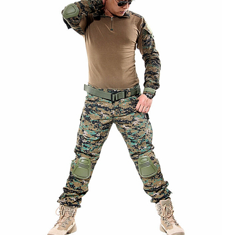 Outdoor Tactical Hunting Airsoft Combat Training Uniform Sets Shirt Pants FG Jungle Digital Camo Army Clothes Clothing W/ Pads fishing hunting camo hidden tactical pants trousers biomimicry jungle amouflage pants leaves wearable durable camouflage pants