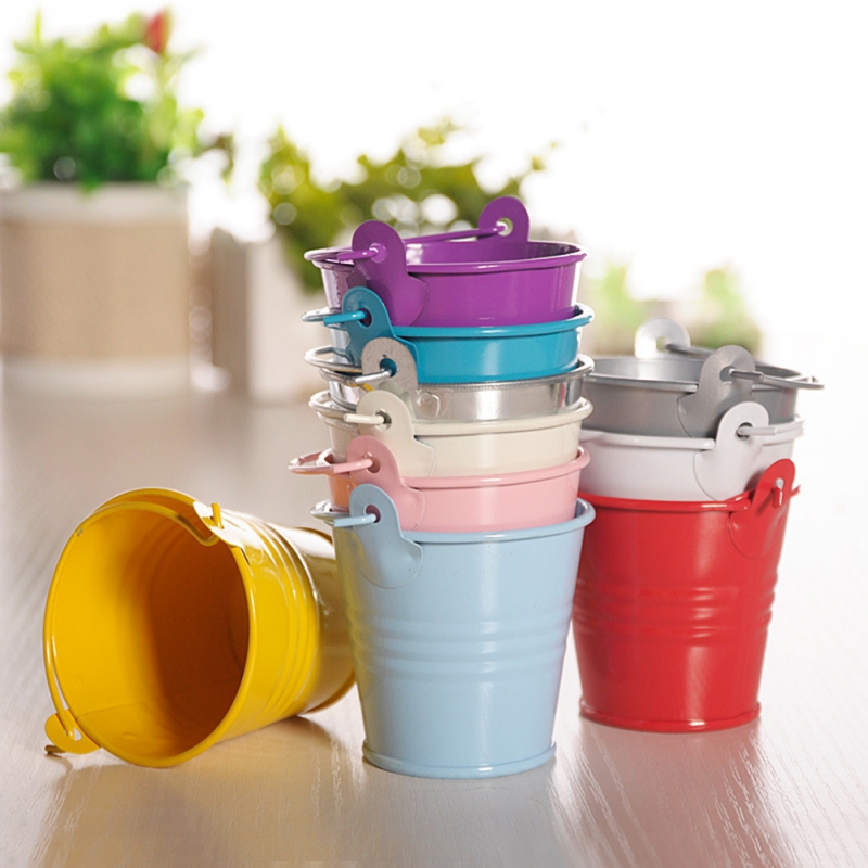 Dropshipping Mini Metal Buckets Colorful Tinplate Pails Candy Boxes Flower Pots Wedding Supply Home Decoration Storage Boxes