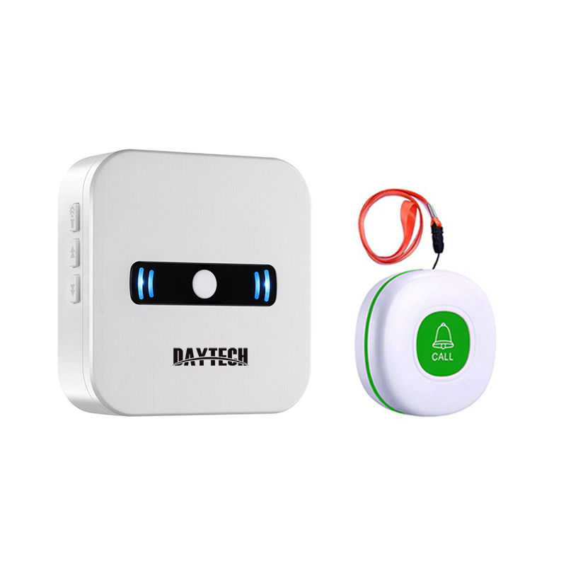 DAYTECH Emergency Transmitter Caregiver Calling System 433MHZ Ring Bell SOS Call Button For Patient/Elderly/Resident(CC02-01WG)