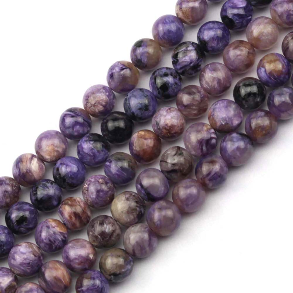 round Natural charoite beads natural GEM stone beads DIY loose beads for jewelry making strand 15