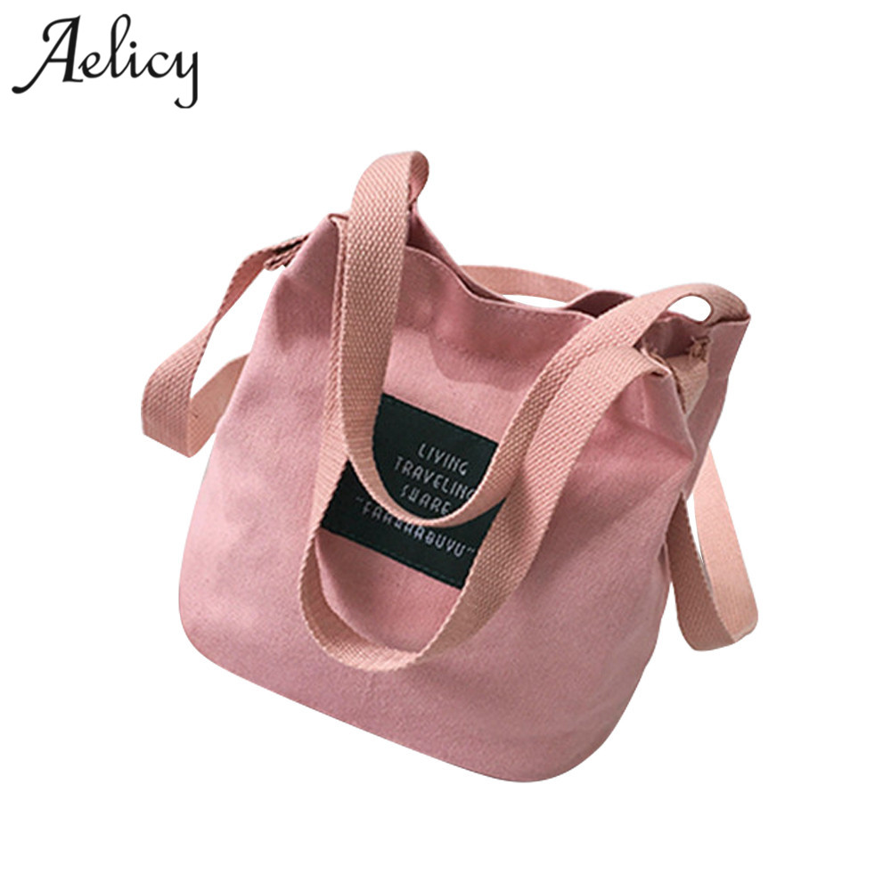 Aelicy Women Mini Canvas Handbag Single Shoulder Bag Crossbody Messenger Bag Lady Swagger Bag Female Shopping Bags Bucket Pack