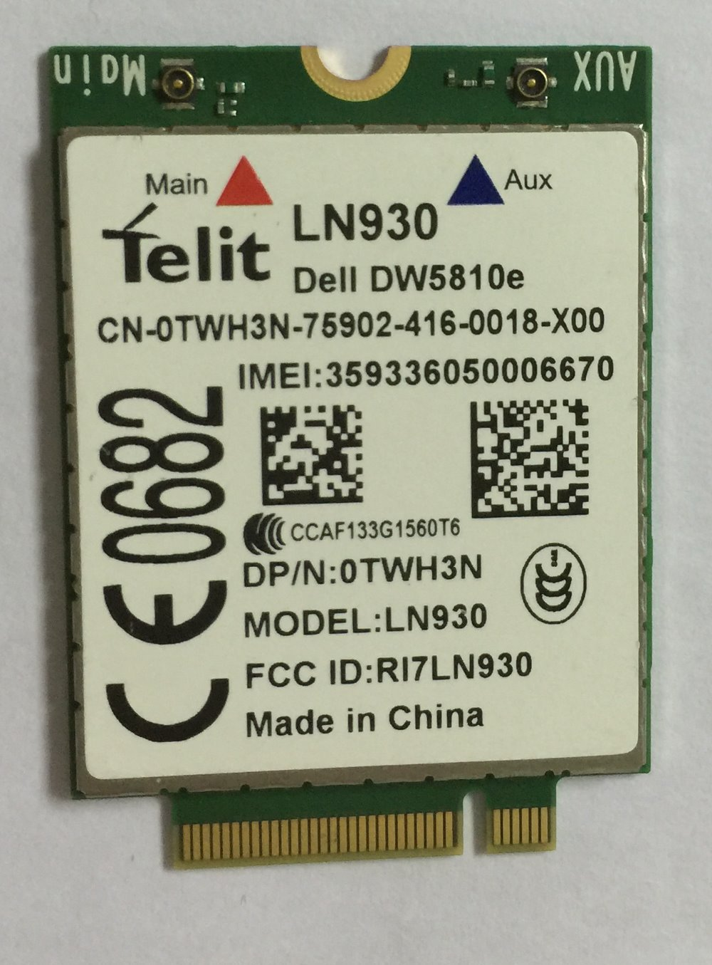 Telit Ln930 Nrr39 Ngff Module Card For Dell Wireless Wifi Dw5810e Venue 11 Pro 4g/lte/dc-hspa+ Wwan 4g High-speed Network Card jinyshi for 68dp9 2pcs ngff m 2 ipex4 antenna 3g card for dell venue 8 and 11 pro em8805 wwan hspa ngff dw5570