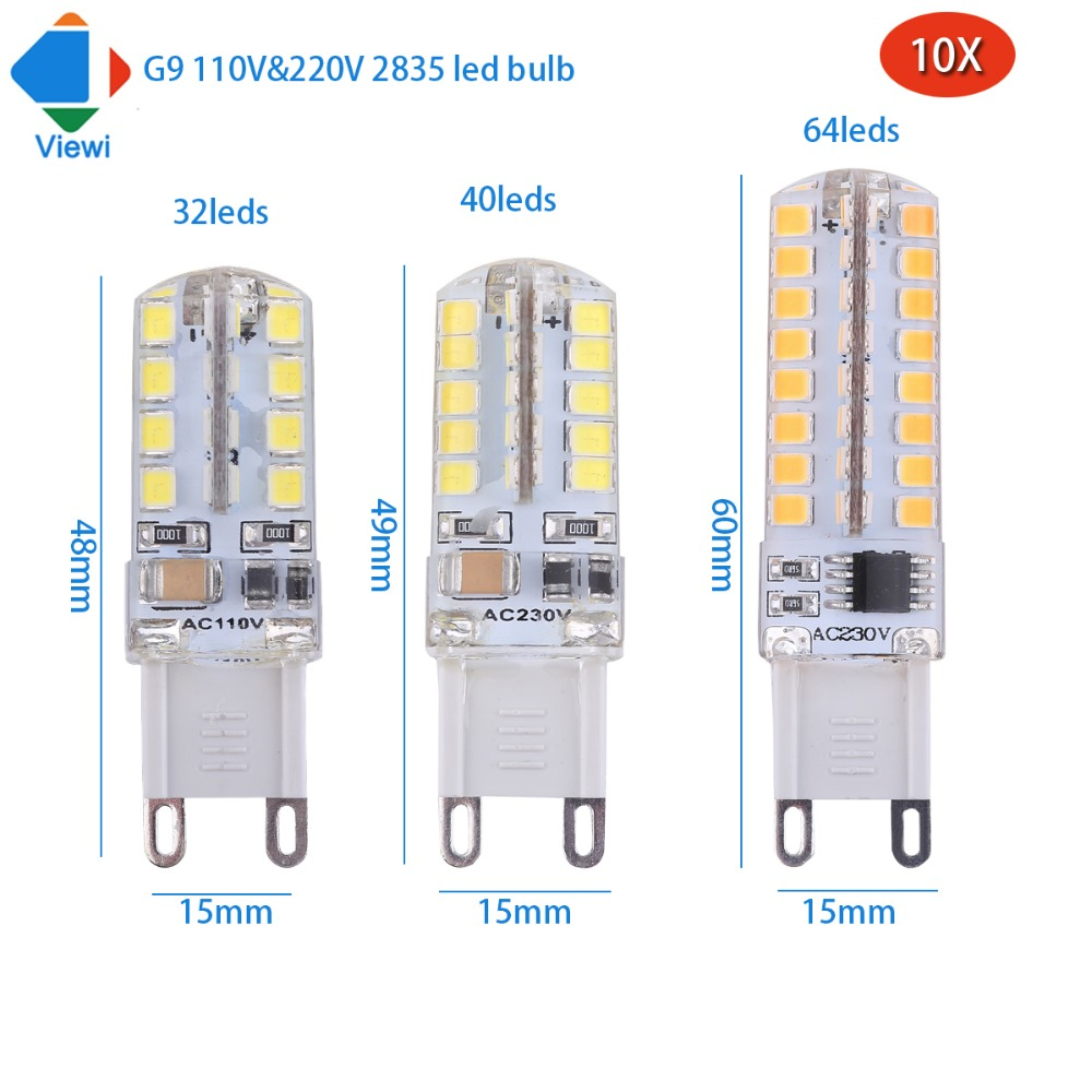 Viewi 10x lampada led 110v 220v G9 bulb lamp smd 2835 32 40 64 leds home lighting 360 degrees Beam Angle high bright lampe