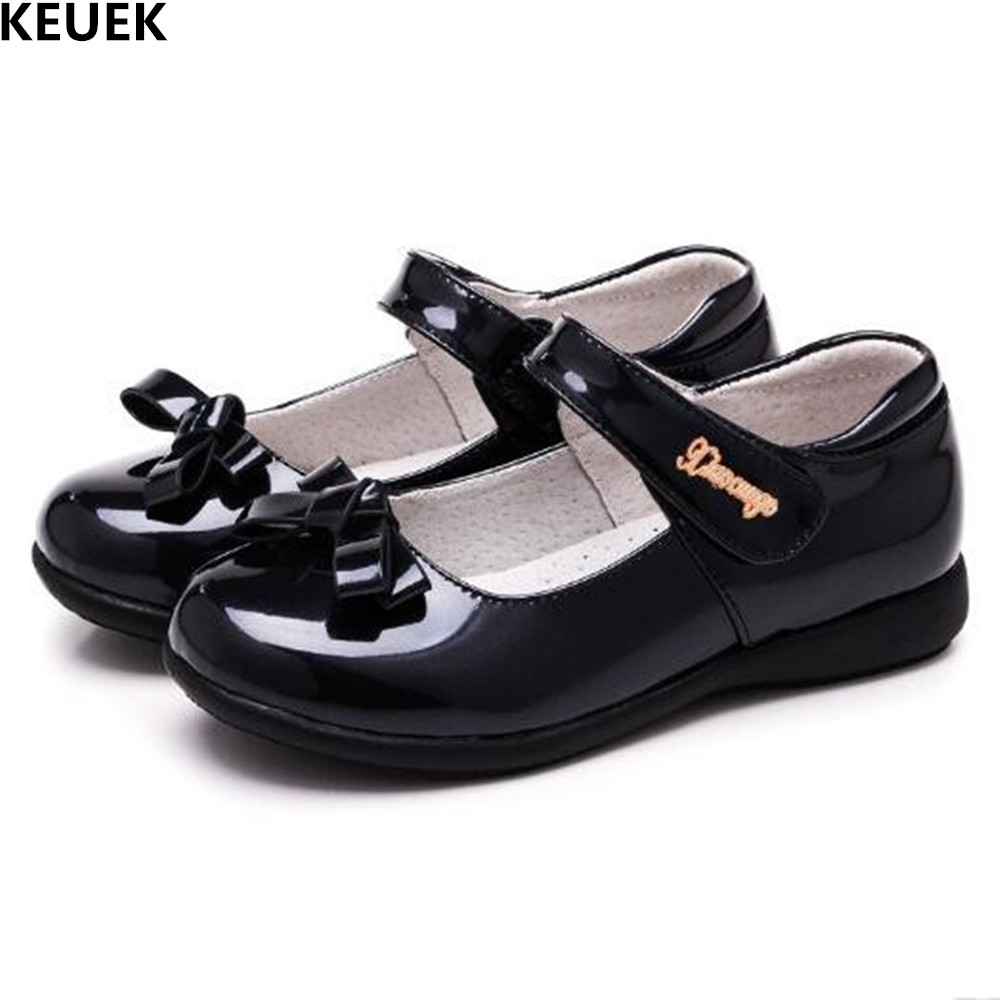 New Girls Shoes Baby Black Bowknot Leather Shoes Children Princess Flats Dance Shoes Student Red Breathable Kids Shoes 02