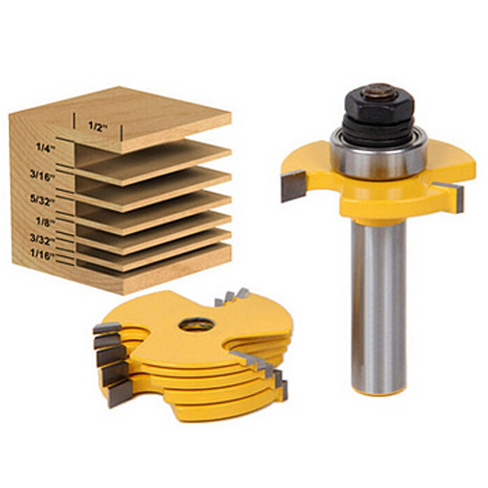 цены 2pcs Slot Cutter 3 Wing Cemented carbide Router Bit Set 1/2