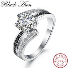nouveau 3,9 г классические 925 пробы серебряные ювелирные изделия ряд черный и белый камень Обручальные кольца для женщин Femme Bague C334