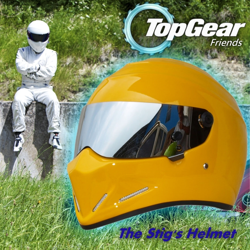 купить For Top gear The STIG Helmet with Silver Visor / TG Collectable / Like SIMPSON Pig / Yellow Motorcycle Helmet / You're the stig! недорого