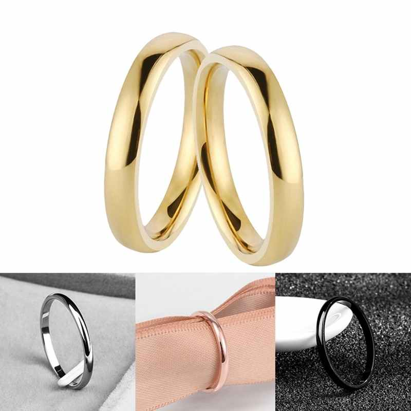 2 MM  Simple Stainless Steel Silver/Gold/black/Rose Gold Ring Engagement Rings Couple Rings Fashion Jewelry Womens Accessories