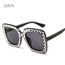 JAXIN Fashion big rhinestone Sunglasses Women personality square sunglasses brand design trend atmosphere gorgeous glasses UV400