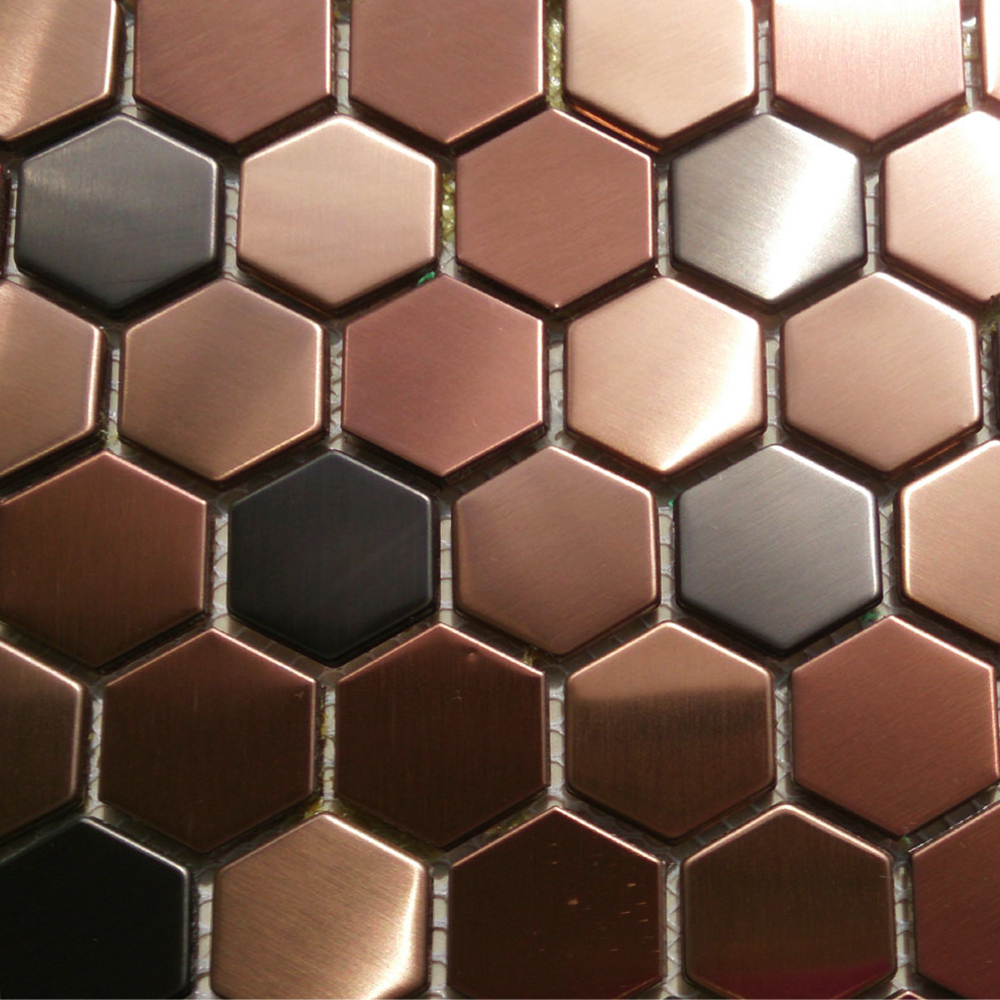 Hexagon mosaics tile copper rose gold color black stainless steel backsplash - Carrelage noir pas cher ...