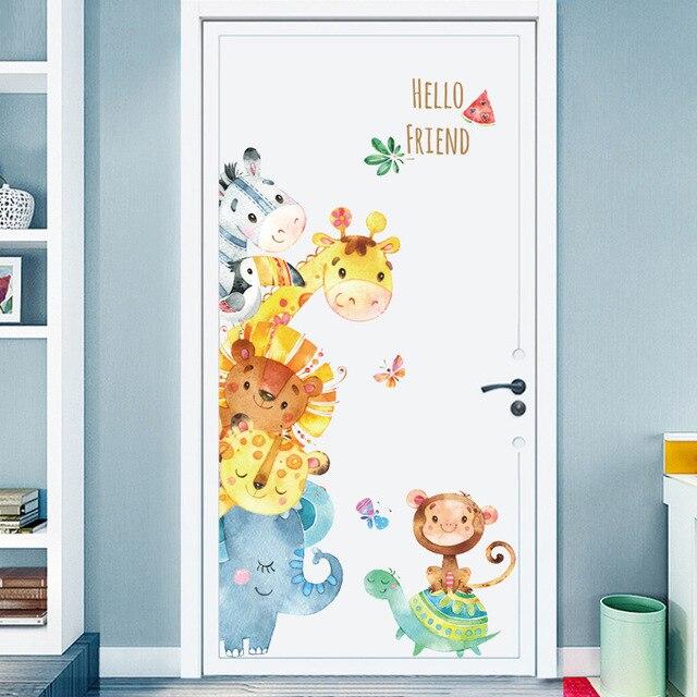 Động Vật hài hước Bạn Bè Bên Vinyl Tường Stickers đối với Trẻ Em phòng Nursery Phòng Ngủ Cửa Tường Trang Trí Nội Thất Phim Hoạt Hình Hình Nền Bức Tranh Tường Nghệ Thuật dc18