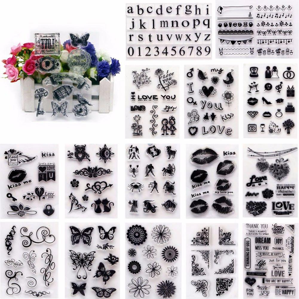 TPR Transparent Stamp Block Mixed Pattern DIY Scrapbooking Decor Kids Gift