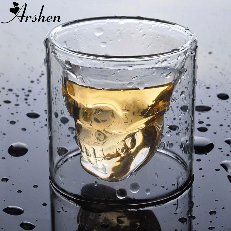 Arshen Creative 4 Size Double Wall Skull Shot Glass Beer Cup Transparent Wine Whiskey Champagne Cocktails Drinkware Party Gift