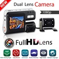 """Mejor Qaulity i1000 HD 1080 P lente Dual de 2.0 """"Vehículo Negro Caja de coches dvr grabador de cámara Con Cámara Trasera Vista de vídeo dvr"""