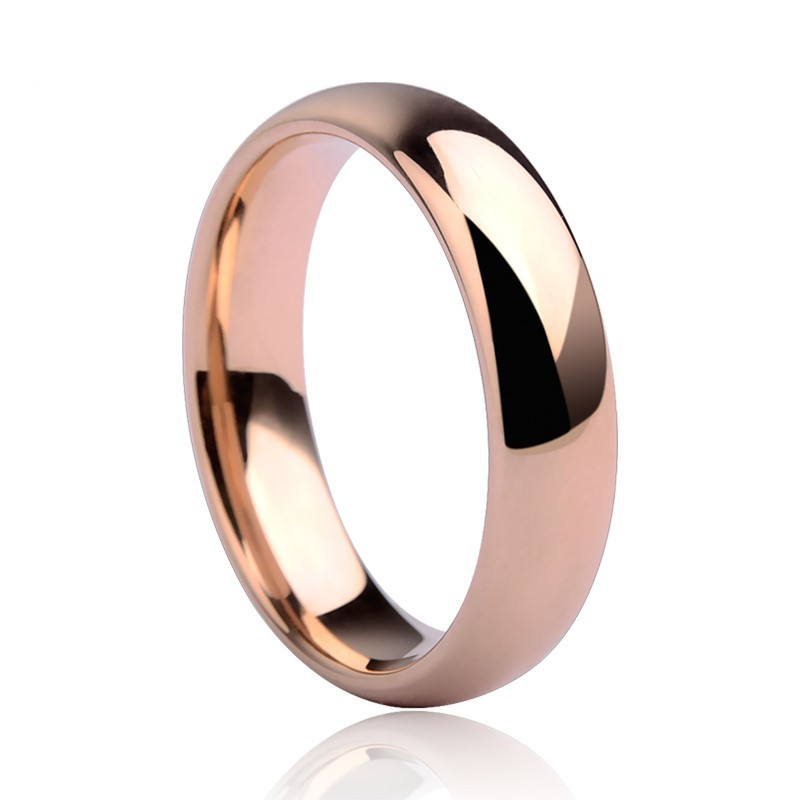 New Fashion 3.5mm / 5mm Rose Gold Plating Tungsten Rings Wedding Dome Band Couples 'Cincin Perhiasan Penghantaran Percuma Saiz 5-14
