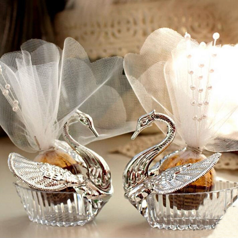 300pcs Acrylic Elegant Swan Candy Box With White Tulle And Satin