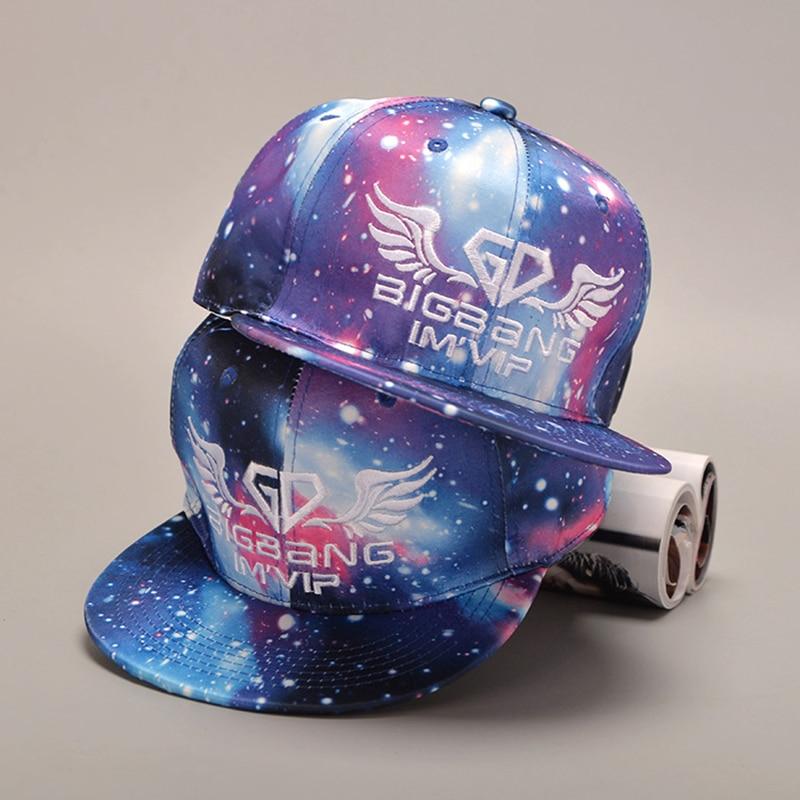 GD Wings SnapBack Galaxy Pattern Space Star Baseball Cap For Men Women Hip hop Snapback Polo Letter Cap Male Summer Bone Hat
