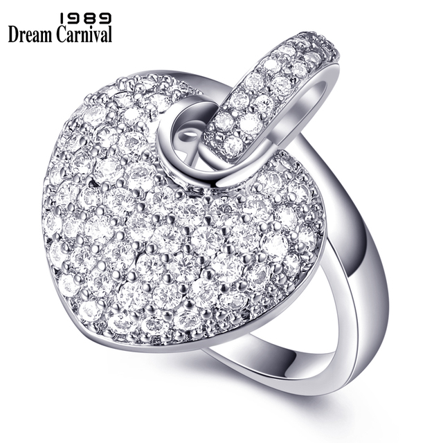DreamCarnival 1989 Women Sweet Heart Charms Zircon Paved Rhodium Gold-color Wedd