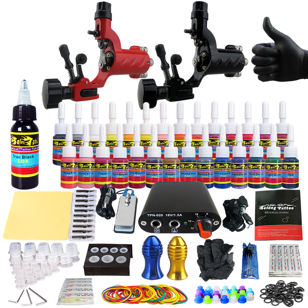 Solong Complete Tattoo Kits 2 Rotary Machines Guns Beginner Tattoos Set With Power Supply 28 Inks Needles Tips Grips Tubes TK204