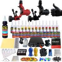 Solong Tattoo Complete Tattoo Kits 2 Rotary Machine Guns Beginner Tattoo Set 28 Inks Needles Tips Grips Tubes TK204 16