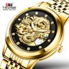 Men S Watch Skeleton Hollow Golden Dragon Mechanical Watch Automatic Winding Waterproof TEVISE Relogio Automatico Masculino