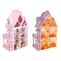 New Arrival Iiecreate Large Wooden Kids Doll House Kit Girls Play Dollhouse Mansion Furniture Toy For Children