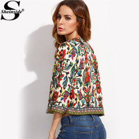 Sheinside Multicolor Tribal Print Outwear With Embroidered Tape Detail Top Autumn Long Sleeve Open Front Coat