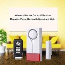 Sem fio Da Porta/Janela de Alarme de Segurança Voz Dispositivo de Vibração & Magnetic Alarme com Som e Luz de Controle Remoto Anti-Roubo alerta