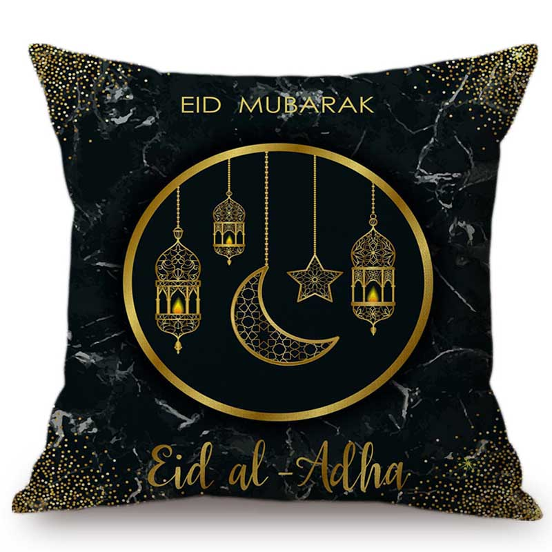 Muslim Arabic Eid Al Adha Mubark Decorative Pillow Case Black Marble Blue Brown Islamic Lantern Ornamental Design Cushion Cover