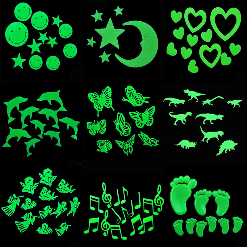 Luminous Wall Stickers DIY 3D Star Moon Heart Butterfly Dinosaur Glow In The Dark Stickers For Kids Room House Decal Home Decor