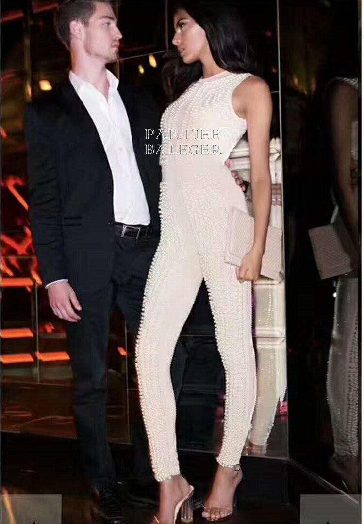 Soirée Parti Célébrité noir Maigre Sexy Sans Élégante Mode Nouvelle Embelli Beige Manches Luxe 2019 Salopette Arrivée Perles De xqRO6nHgw