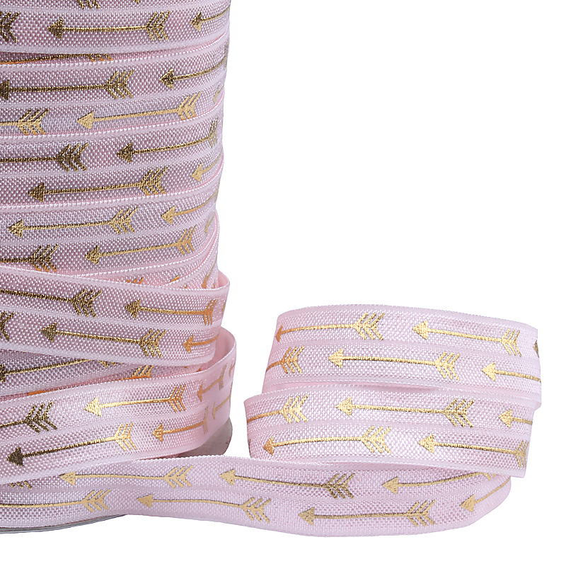 Gold metallic fold over elastic ribbon 117 light pink elastic with print 100 yards per lot